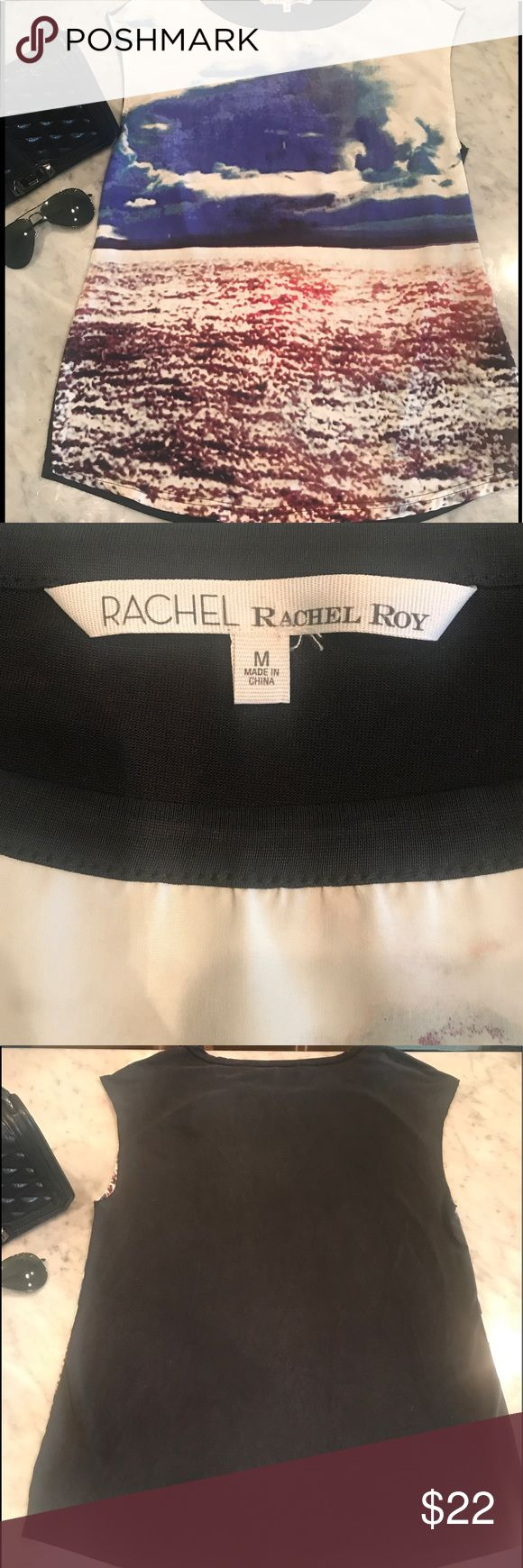 👚 RACHEL Rachel Roy Top 👚 ⚓️ Beautiful Silk Front Watercolor Design by Rachel Roy ⚓️ T-shirt Paneled back. Such a comfy and stylish shirt that can be dressed up or dressed down!  Don't miss out on this awesome piece that will have compliments coming your way!! 💗 NWOT 💗 RACHEL Rachel Roy Tops