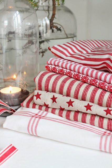 Pretty fabrics in red and white add Christmas charm
