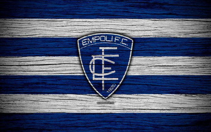 Download wallpapers Empoli FC, Serie B, 4k, football, wooden texture, blue-white lines, Italian football club, logo, emblem, Empoli, Italy