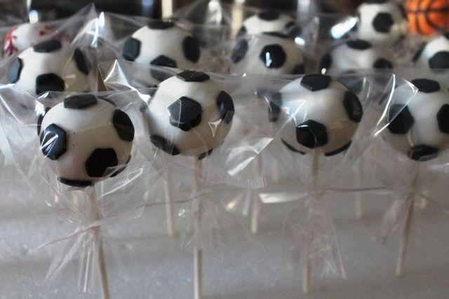 sports themed baby shower   Soccer ball Cakepops   Flickr - Photo Sharing!