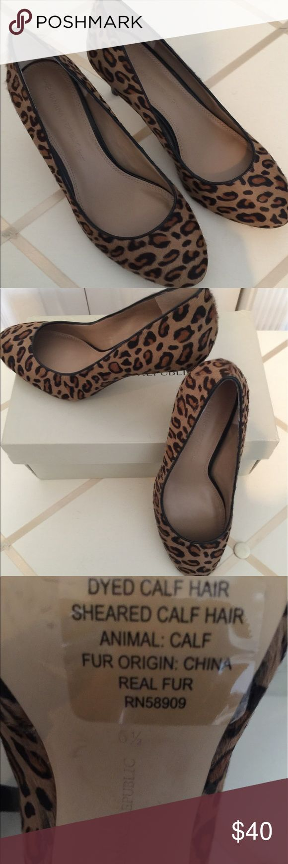 "Banana Republic real fur shoes animal print Very cute and elegant shoes. Worn twice. 2 3/4"" heel. Excellent condition. Banana Republic Shoes Heels"