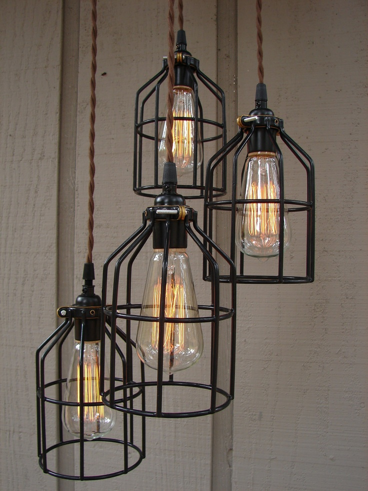 RESERVED FOR SOPHIA Upcycled 4 Light Industrial by BenclifDesigns, via Etsy.