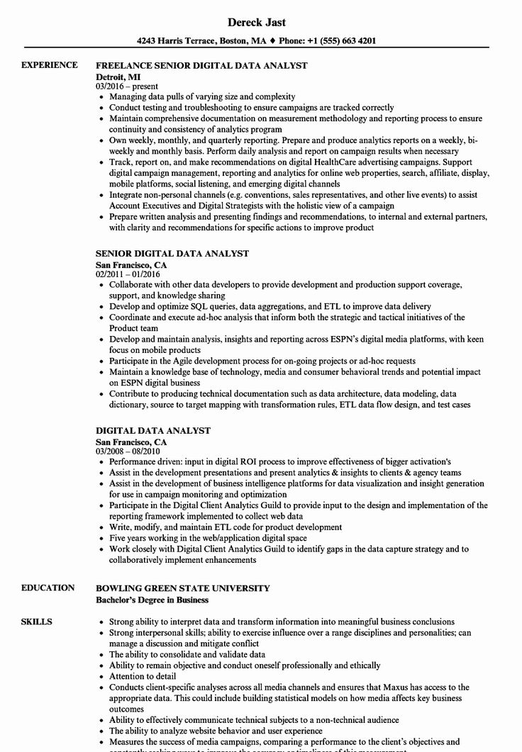 Data Analyst Resume Examples Inspirational Digital Data