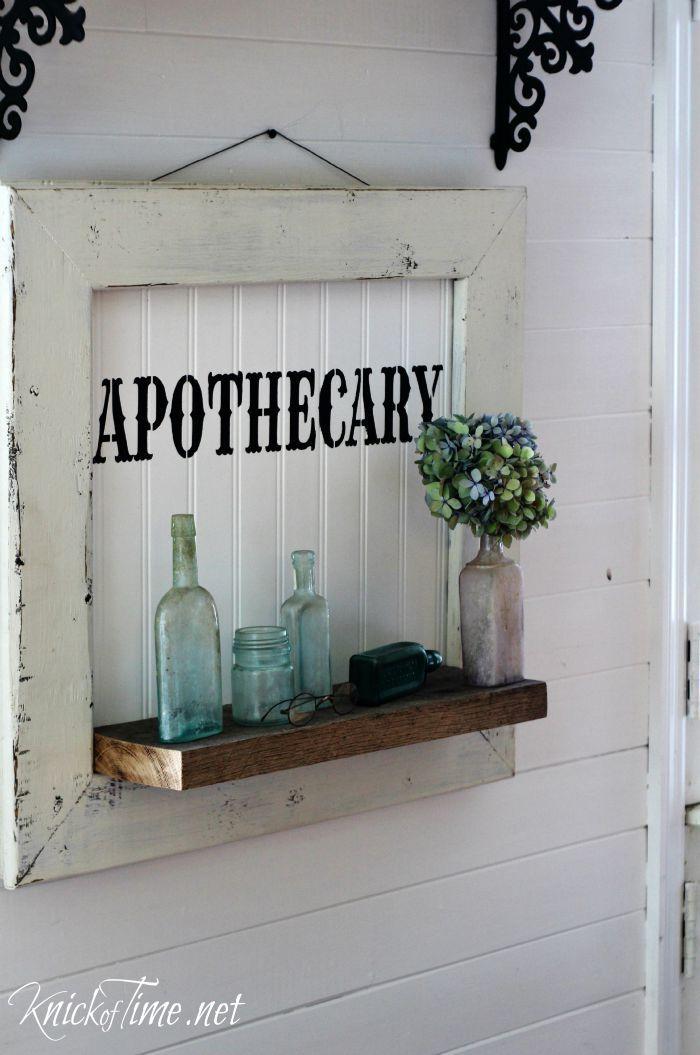 DIY Apothecary Sign Display Shelf - Knick of Time