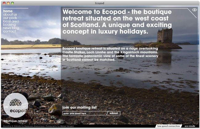 Ecopod website. Contributed by Christian Eager, partner and designer at London-based Designers Anonymous. Ecopod is a luxury eco-friendly holiday retreat in the Scottish Highlands. The brand identity focused on the high quality of the experience, avoiding the clichés that go hand-in-hand with all things 'eco'.