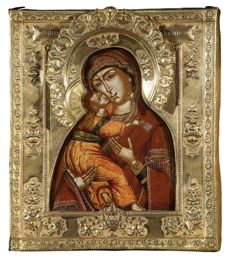 Икона Богоматери**Умиление** Владимирская,середина18 века .Невьянск