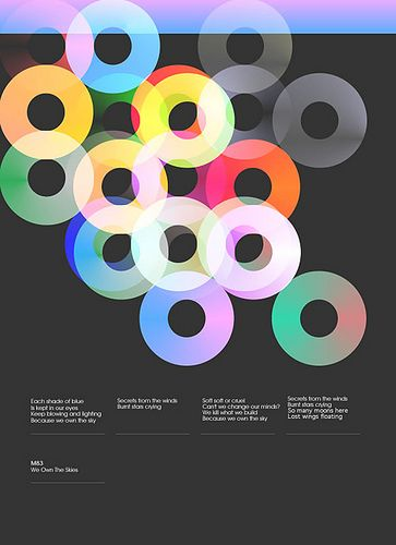 weowntheskies (via danclarke84) - Lovely swiss-style poster using a four-column grid at the bottom and repeated circles to create interest and rhythm at the top (overlapped and translucent, differing colors). Very cool.