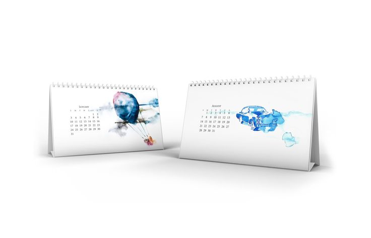 V Watercolors Desk Horizontal Calendar 2016 by AllWaterAndColors on Etsy