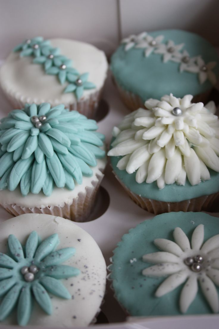 teal and off white cupcakes