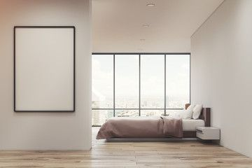 White bedroom with poster, side