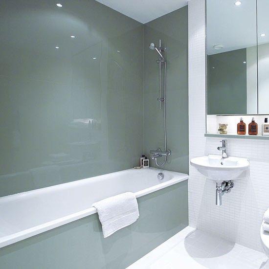 Love glass splash backs in bathrooms! Bathroom wall