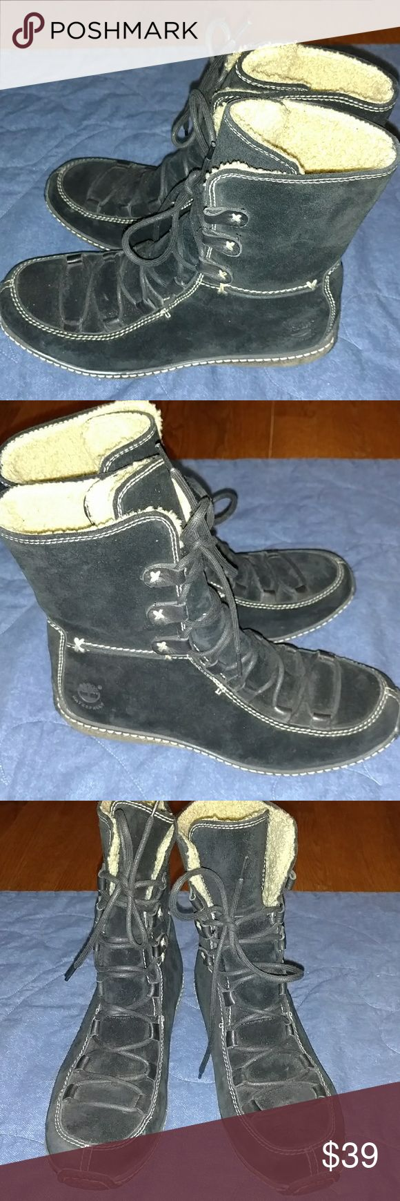 Timberland waterproof boots Like new condition. Leather. You won't be able to wear thick socks or they would be hard to get on. If you have a narrow foot these would be perfect Timberland Shoes Winter & Rain Boots