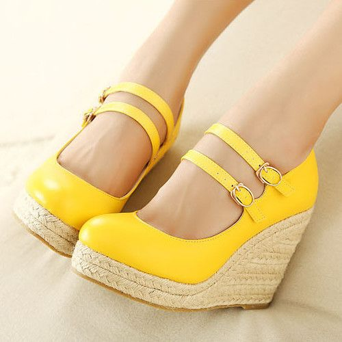 Charming Yellow PU Round Closed Toe Wedge High Heel Wedges