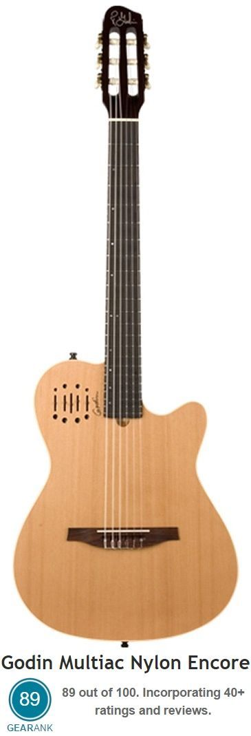 The Godin Multiac Nylon Encore Acoustic-Electric Nylon String Guitar is one of the highest rated nylon string or classical guitars you can buy new for less than $1000.