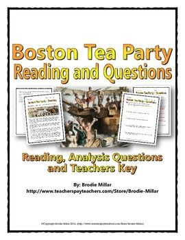 American Revolution (Boston Tea Party) - This 6 page Boston Tea Party package includes a one and a half page reading that is engaging and informative. The reading is related to the American Revolution in that it covers the major events of the Boston Tea Party. This is a great activity for having students analyzing a reading and for analyzing the Boston Tea Party as a spark of the American Revolution.