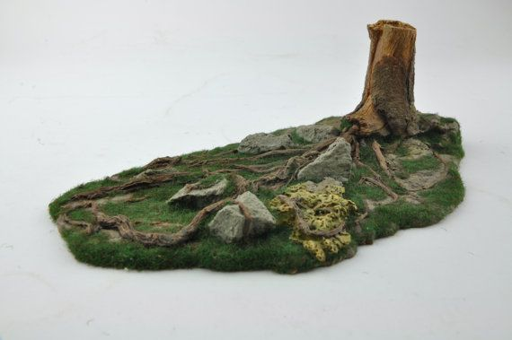 Tree Stump Trunk Roots  Forest Stones  Resin by resinscenery