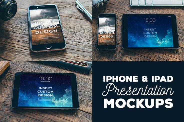 3 Free iPhone & iPad Mock-ups 3 iPhone & iPad presentation mock-up templates with vintage…