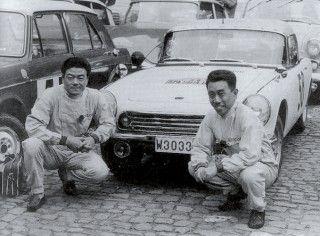 1965 Liège-Rome-Liège Rally - Giichi Susuki [l] and Nobuo Koga [r]. Honda S600.