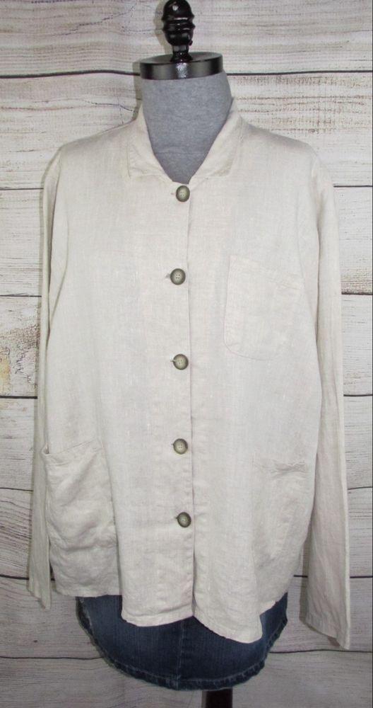 ce168bfa5bda7 MATCH POINT womens Shirt Jacket XL (fits 1X) flax Linen USA 52