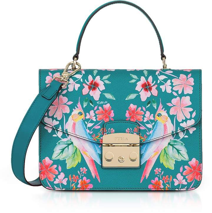 926363fb76 FURLA Cocorita Printed Leather Metropolis Small Top-Handle Shoulder Bag.  With its budgie bird motif adds a little feathery fun to th…