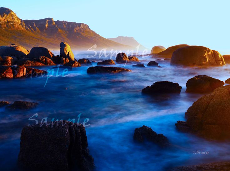 View from Clifton Beach Cape Town South Africa of the Table Mountain Range. Colorful and yet calming image.
