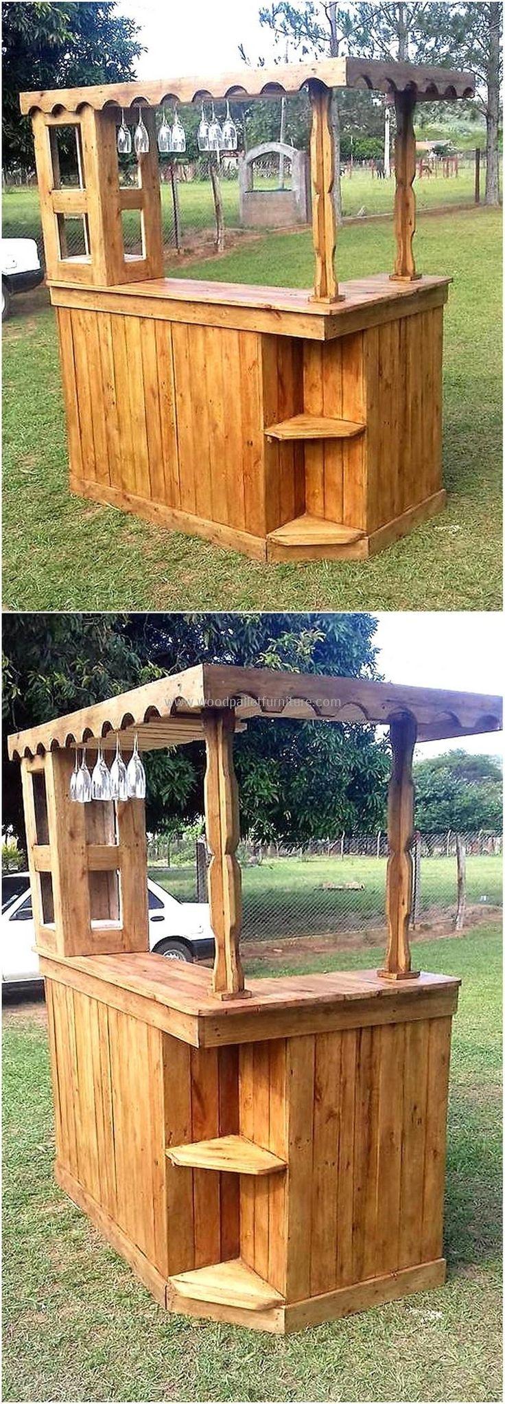 plan de barra de palés de madera reutilizado