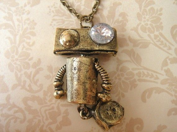 Robot Necklace. Geeky Roboto with Wheel by Beadix (etsy)