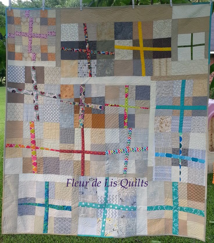 """Crazy X's Quilt"" completed May 2015.   Eight of the blocks are from other quilters in the Bee Social Quilt Bee."