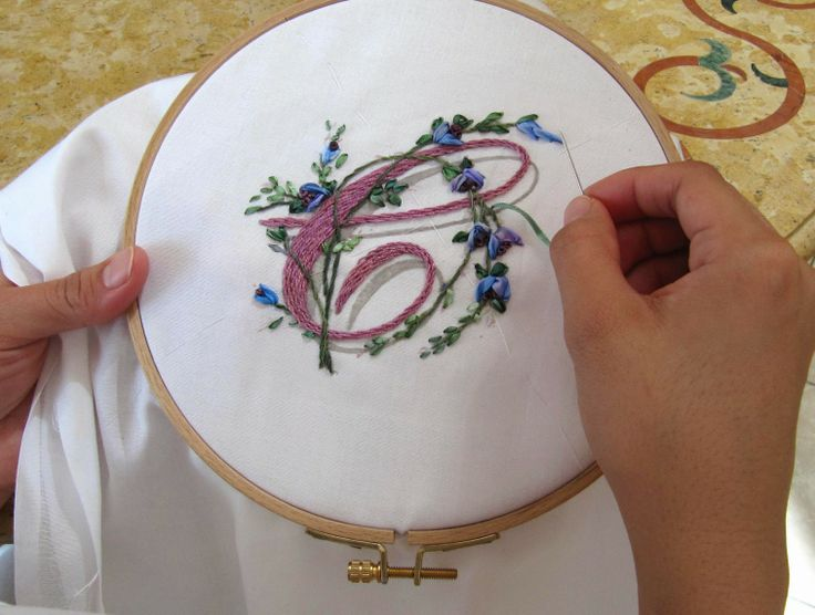 My Craft Land Diary - Ribbon Embroidery Monograms