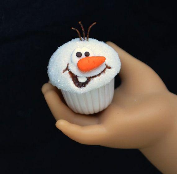Disney inspired Frozen Olaf Cupcake for American Girl Doll on Etsy, $5.75