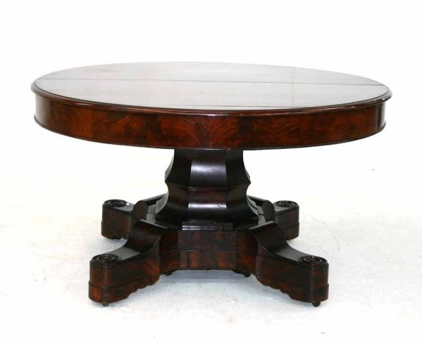 Exceptional J JW Meeks American Empire Mahogany Dining Table Unusual Shaped Base With Original Leaves