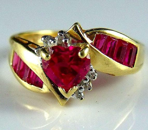 Ruby Ring A 10k Gold Heart Shaped Ruby And Diamond Ring With Channel Mount Rubies Size 7 Marked Thl Copyri Valentines Jewelry Ruby Ring Gold Ruby Heart Ring