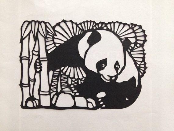 Traditional Chinese paper cut design Panda the bamboo bear