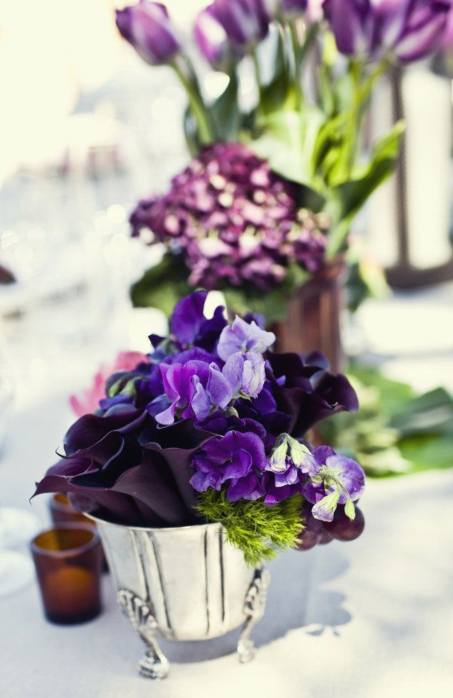 Elegant purple wedding reception ideas.