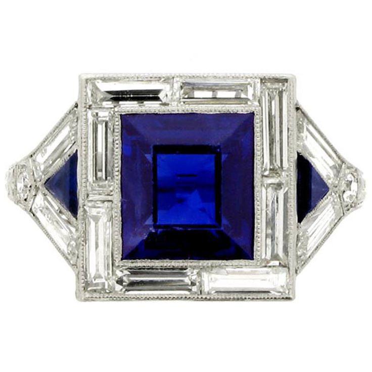 https://www.bkgjewelry.com/blue-sapphire-earrings/767-18k-white-gold-clip-on-diamond-blue-sapphire-earrings.html Art deco sapphire ring, engagement, engagement ring, diamond ring, bride, bridal, wedding, noiva, عروس, زفاف, novia, sposa, כלה