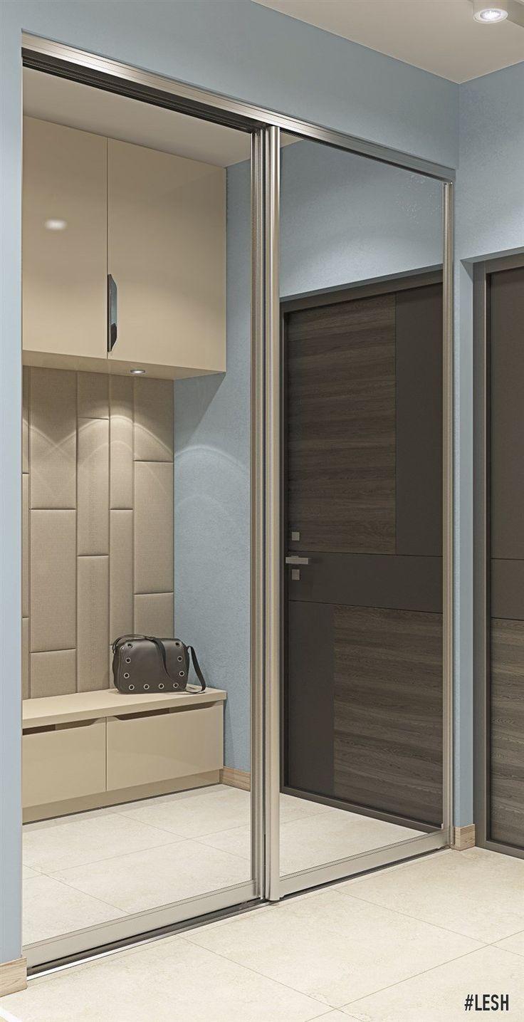 Застекленный шкаф-купе в прихожей | Студия LESH (прихожая, дизайн прихожей, шкаф-купе, маленькая прихожая, тамбур)