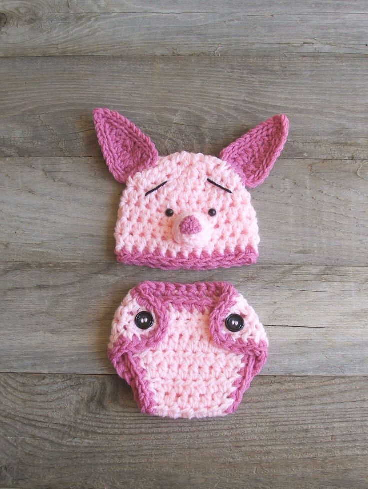 Piglet / Pig Hat & Diaper Cover Set, inspired by Winnie the Pooh (NEWBORN-3 MONTH size). $39.50, via Etsy.