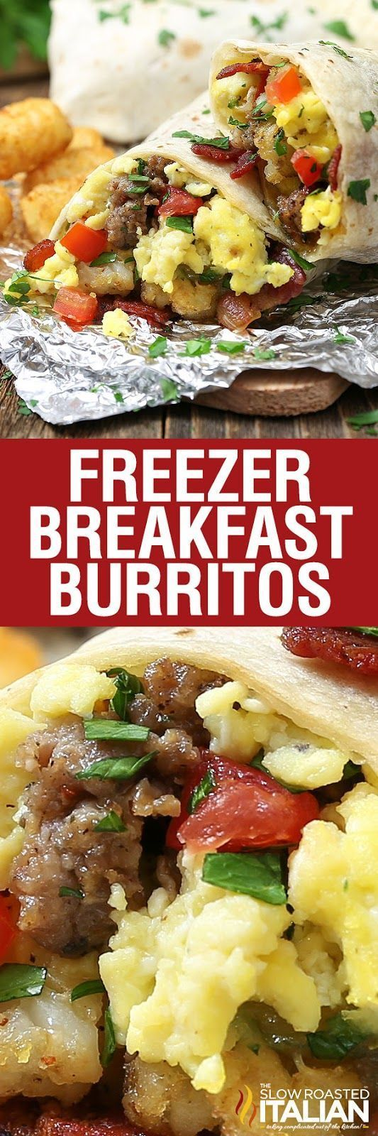 Make-ahead breakfast burritos are loaded with your favorite fillings. Eggs, sausage, bacon and tater tots are topped with ooey gooey cheese, and fresh vegetables. Just make up this easy recipe and toss them in the freezer. Pop them in the microwave in the morning for an easy grab and go breakfast.