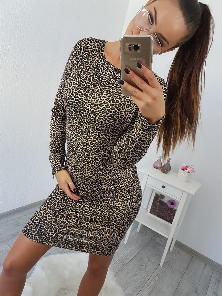 d3bc7f676 Hnedé leopardie šaty s jednoduchým klasickým strihom. Krásny zverací mótív  pre moderné ženy. Veľkosť