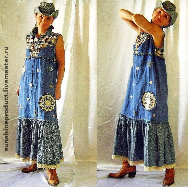 """Купить Платье """"Деревенский шик"""" - этностиль, длинное платье, сарафан, летнее платье, свободное"""