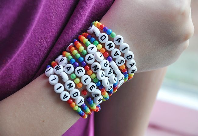 Rainbow name bracelets - so cute for a rainbow party favor or craft project!