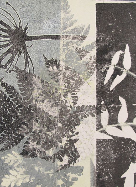 Made by hand botanical monoprint. Fern leaf and seed head printed in dusky blue. Influenced by William Morris  the Arts and Crafts movement.  Stef Mitchell