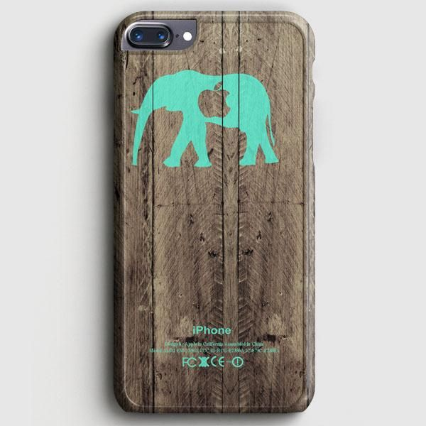 Mint Chevron Elephant On Dark Wood Background iPhone 8 Plus Case
