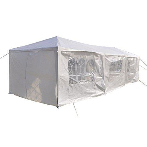 RHH 10 x 30 Canopy Party Wedding Tent Heavy Duty Gazebo Pavilion 8 Full Walls White > An assembled tent, consist of necessary accessories High-class polyethylene and steel material, smart workmanship and reasonable design It is divided into 2 bedrooms, with 8 sides and 2 doors