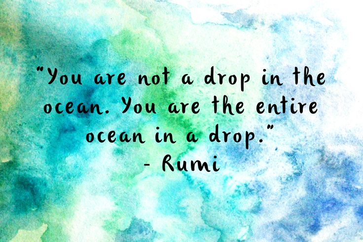 """""""You are not a drop in the ocean. You are the entire ocean in a drop."""" - Rumi"""