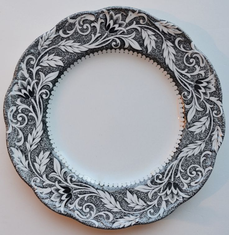 Black and White Ironstone Transferware Plate with Scrolled Leaf and Vi