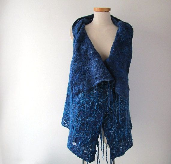 Blue Felted vest Wool Reversible vest  one of a kind by galafilc