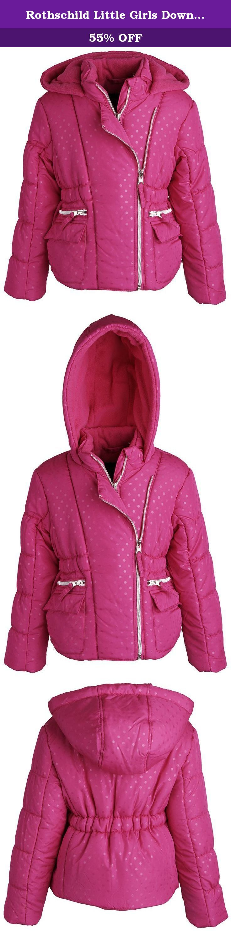 Rothschild Little Girls Down Alternative Fleece Winter Puffer Bubble Jacket Coat - Rubylight (size 5/6). Bundle up your little angel in this lovely bubble jacket by Rothschild. Ultra soft full fleece lining along with its thick down alternative filling will definitely help her cope those extreme weathers. All over polka dot print and elasticized waist will surely please moms and daughters taste alike. Available in colors rubylight and sapphire and in sizes 2T to 6X.
