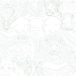 Animal Kingdom Modern Classic Teal Sketched Wildlife Wallpaper | Kathy Kuo Home
