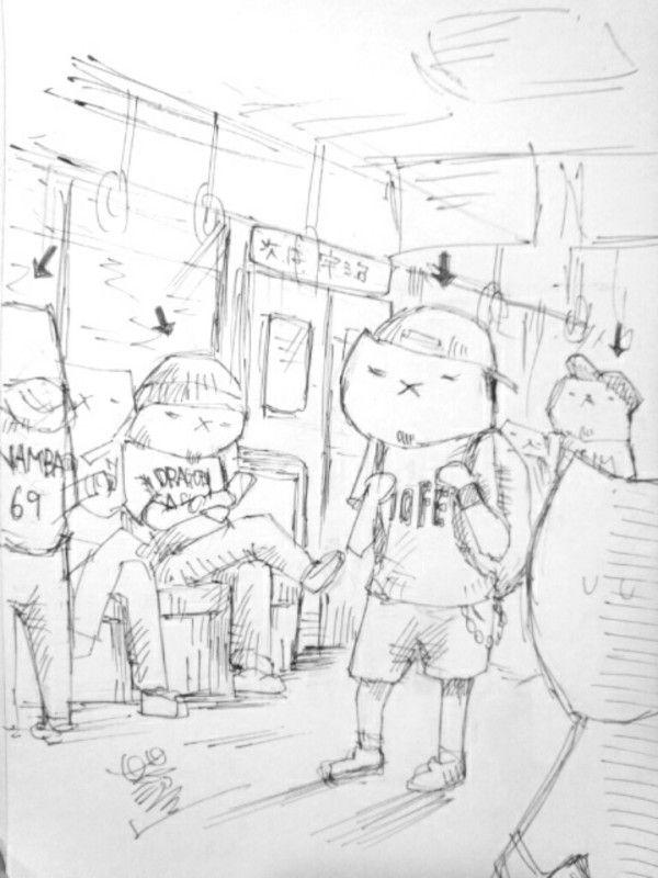 ライブに向かう電車で、服装で同じライブに行く人どうかかわかる。  #フテネコ